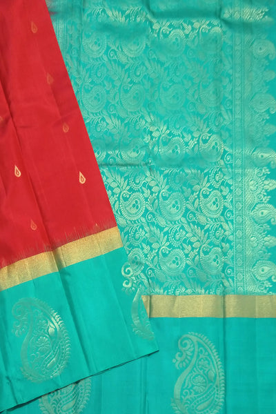 Fasnic.com Pure Soft Silk Saree - Red & Cyan - Mango Design. Unstitched blouse attached