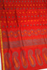 Fasnic.com Pure Soft Silk Saree - Red - Mango Design. Unstitched blouse attached