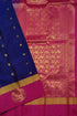 Pure Soft Silk Saree - Navy Blue & Deep Pink - Peacock Design