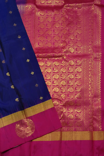 Fasnic.com Pure Soft Silk Saree - Navy Blue & Deep Pink - Peacock Design. Unstitched blouse attached