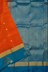 Pure Soft Silk Saree - Dark Orange & Steel Blue - Peacock Design