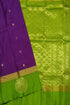 Pure Soft Silk Saree - Purple & Parrot Green - Floral Design
