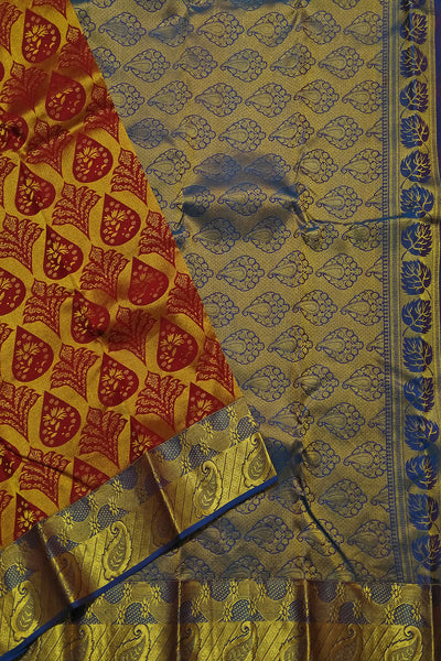 Kanchipuram Silk Saree - Maroon & Blue - Floral Design