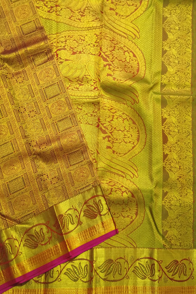 Kanchipuram Silk Saree - Green Gold - Parrot Design