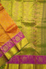 Kanchipuram Silk Saree - Dark Orange & Olive Green - Floral Design