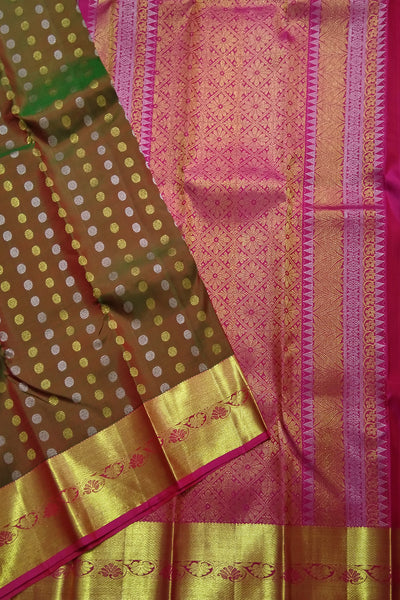 Kanchipuram Silk Saree - Olive Green & Deep Pink - Floral Design
