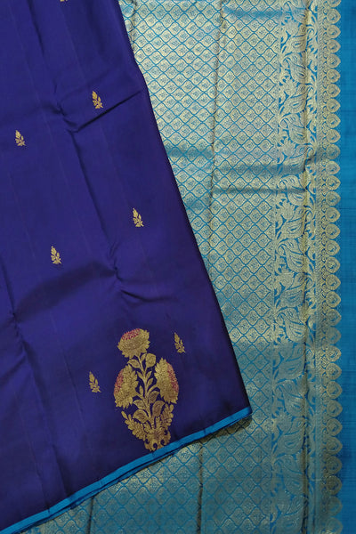 Borderless Kanchipuram Silk Saree - Dark & Sky Blue - Floral Design