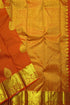 Kanchipuram Silk Saree - Gold & Dark Orange - Leaf Design