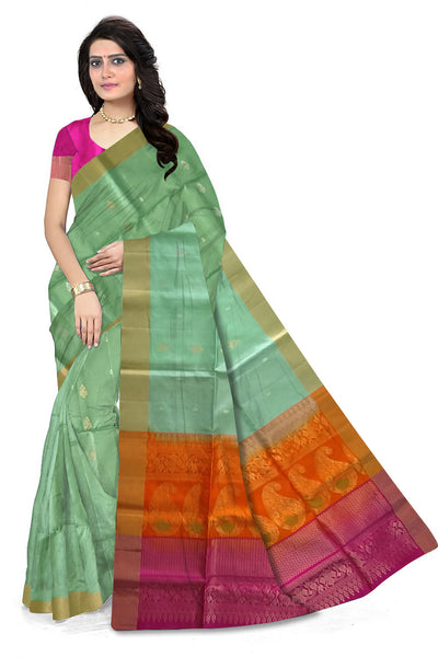 Light Green Handloom Soft Silk Saree front view