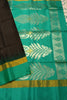 Pure Soft Silk Saree - Black Gray & Green  - Floral Design