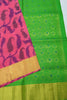 Pure Soft Silk Saree -  Hot Pink & Lime Green  -  Peacock & Floral Design