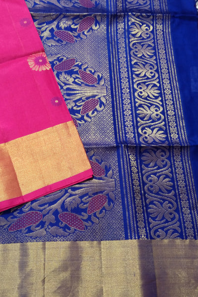 Pure Soft Silk Saree - Deep Pink & Navy Blue - Floral Design