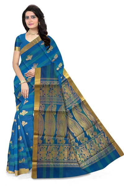Fascinating Blue Cotton Silk Saree front view