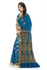 Fascinating Blue Cotton Silk Saree Side view