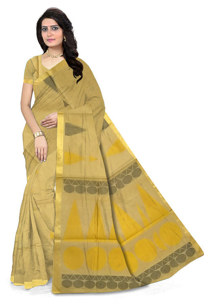 Fascinating Golden Pure Cotton Saree front view