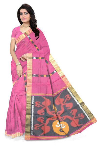 Stunning Pink Pochampally Stripes Cotton Silk front view