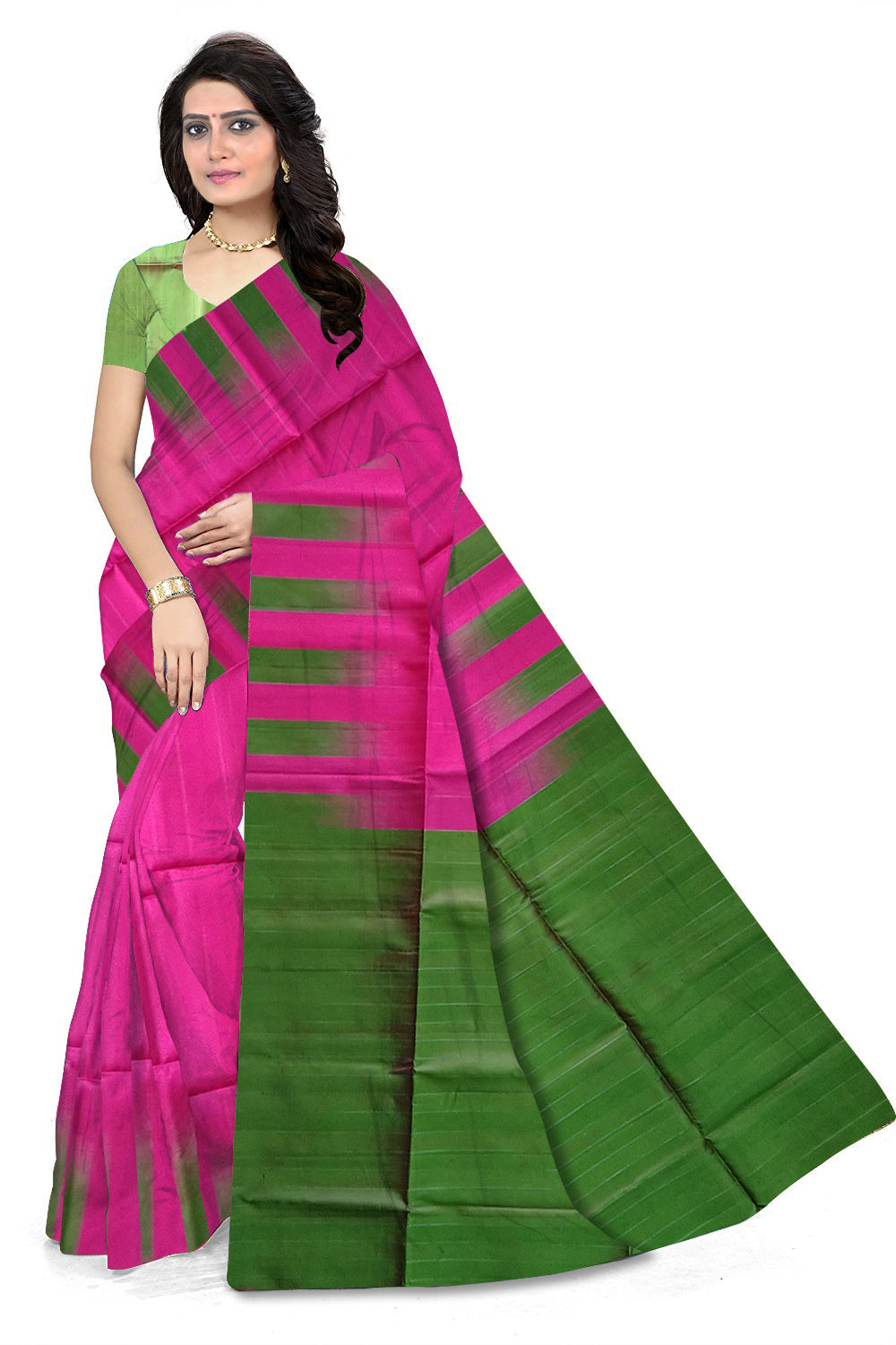 c76f230d4e Pretty Brilliant Rose & Green Lightweight Handloom Dye Soft Silk Saree  front view