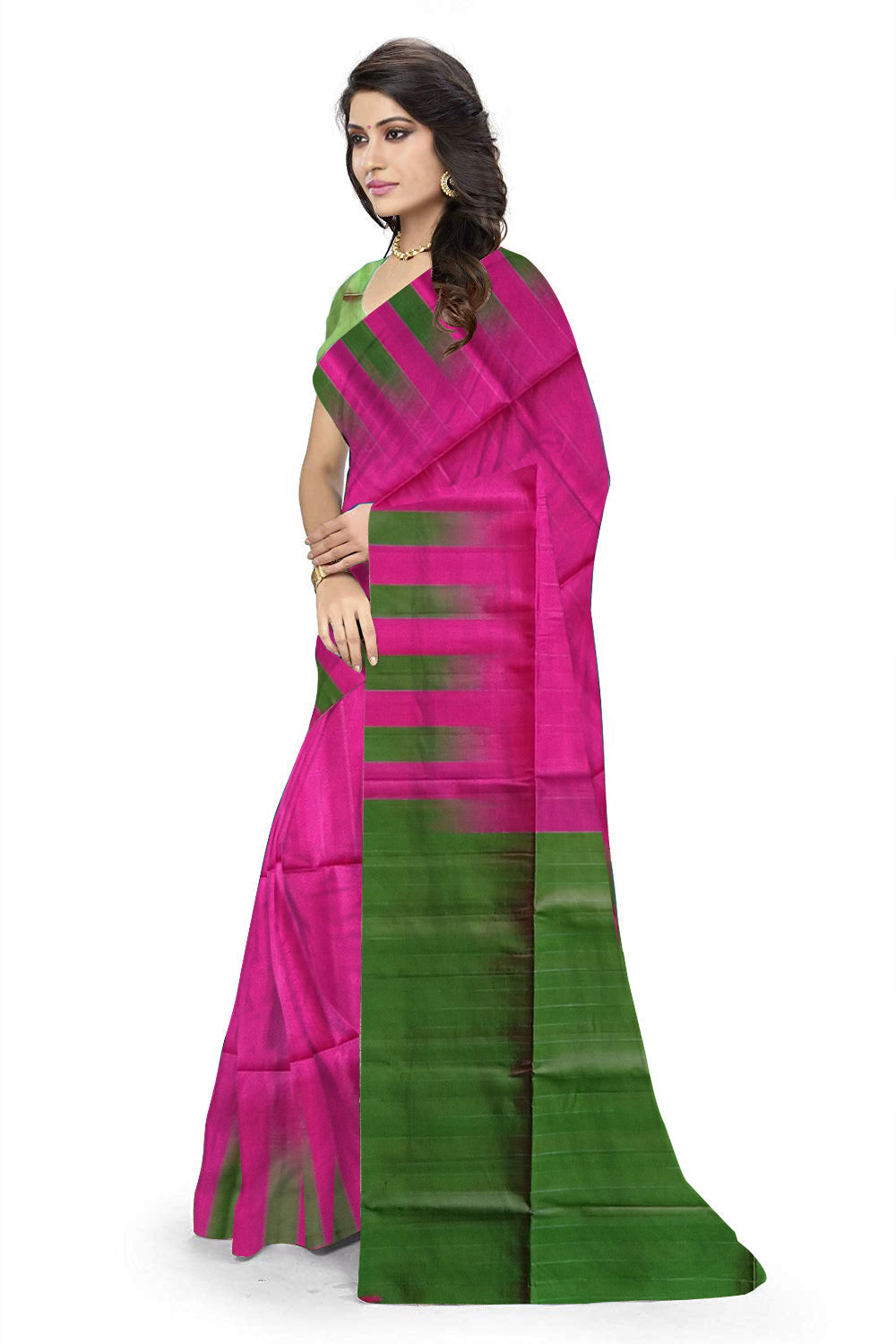 0946471f14 Pretty Brilliant Rose & Green Lightweight Handloom Dye Soft Silk Saree Side  view