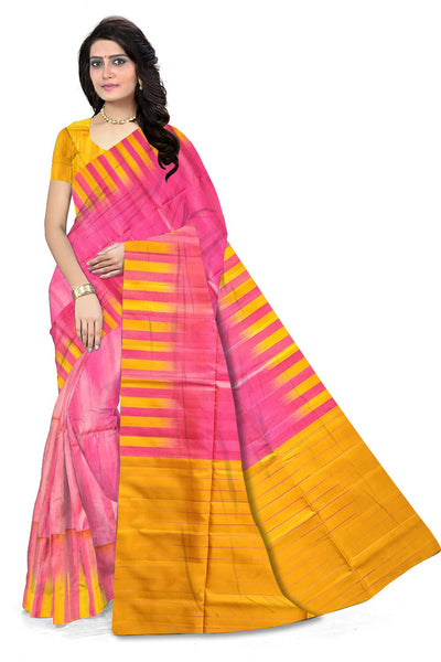 Pretty Pink & Yellow Lightweight Handloom Dye Soft Silk Saree front view