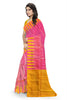 Pretty Pink & Yellow Lightweight Handloom Dye Soft Silk Saree Side view
