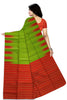 Fascinating Green & Red Lightweight Handloom Dye Soft Silk Saree Back view