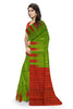 Fascinating Green & Red Lightweight Handloom Dye Soft Silk Saree Side view