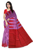 Delightful Violet & Red Lightweight Handloom Dye Soft Silk Saree front view