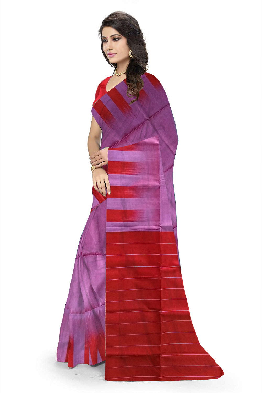 8f12556a02 Delightful Violet & Red Lightweight Handloom Dye Soft Silk Saree Side view
