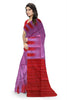 Delightful Violet & Red Lightweight Handloom Dye Soft Silk Saree Side view