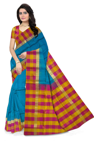 Stunning Navy Blue & Multi Colored Checked Handloom Soft Silk Saree front view