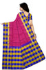 Pretty Pink & Multi Colored Checked Handloom Soft Silk Saree Back view