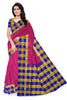 Pretty Pink & Multi Colored Checked Handloom Soft Silk Saree front view