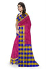 Pretty Pink & Multi Colored Checked Handloom Soft Silk Saree Side view