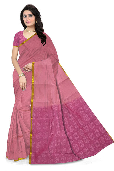 Violet and Pink Art Silk Saree front view