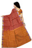 Red and Orange Art Silk Saree Back view