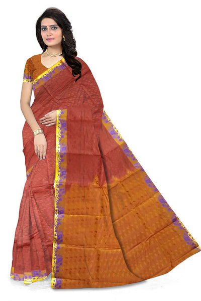 Red and Orange Art Silk Saree front view