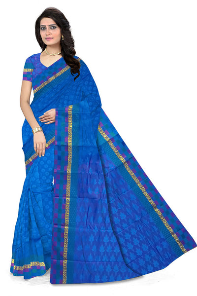 Blue Art Silk Saree front view