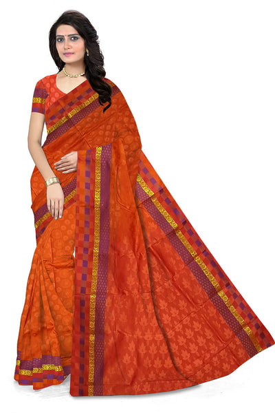 Orange and Red Art Silk Saree front view