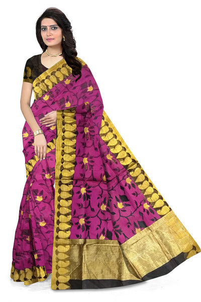 Attractive Violet Manipuri Cotton Saree front view