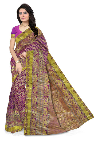 Marvelous Pink & Golden Art Silk Saree front view