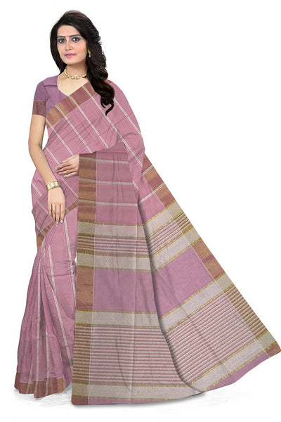 Delightful Violet & Gray Jute Cotton Saree front view