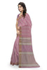 Delightful Violet & Gray Jute Cotton Saree Side view