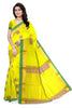 Yellow and Pink Cotton Silk Saree Front View