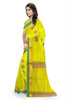 Yellow and Pink Cotton Silk Saree Side View