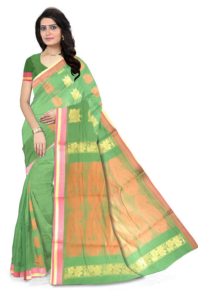 Green and Red Cotton Silk Saree Front View