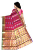 Red and Golden Cotton Silk Saree Back View