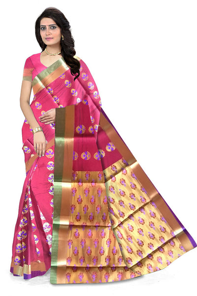 Red and Golden Cotton Silk Saree Front View