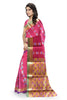 Red and Golden Cotton Silk Saree Side View