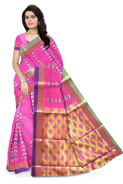 Pink and Golden Cotton Silk Saree Front View