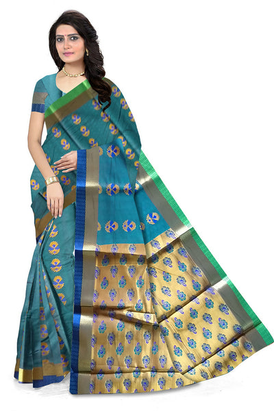 Cyan and Golden Cotton Silk Saree Front View